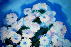 Bunch of flowers, painting on a canvas Stock Photo