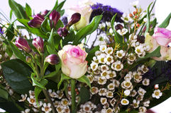 Bunch of flowers with Roses and Alstroemeria Stock Photo