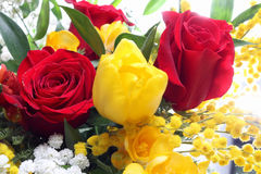 Bunch of flowers with roses and tulips Royalty Free Stock Photo