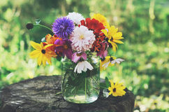 Bunch of flowers on tree stub, summer background Royalty Free Stock Photos