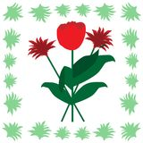 A bunch of flowers tulip at the flower pattern on the backside. At the white background royalty free illustration