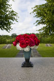 Bunch of Flowers in Vase at Uppsala Cemetery Stock Image