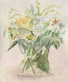 A bunch of flowers. Watercolour illustration of flowers in a vase Royalty Free Stock Images