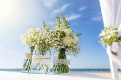 Bunch of flowers for a wedding ceremony. With Sun. Bunch of flowers for a wedding ceremony. On the background of the sky Royalty Free Stock Photography