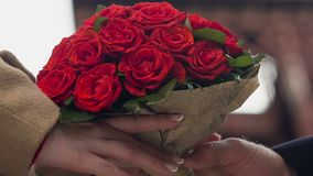 Bunch of flowers for woman, bouquet of red roses, gift for girlfriend floristics