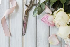 Bunch flowers on a wooden background.  Stock Image