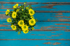 Bunch of flowers on wooden table Royalty Free Stock Image