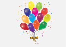 Bunch of flying colorful balloons with golden ribbon on white background Royalty Free Stock Photography