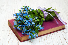 Bunch of forget-me-not flowers and old book Royalty Free Stock Image