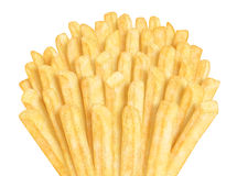 Bunch of french fries. On white background Stock Photos