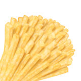 Bunch of french fries in the corner. On white background Stock Image