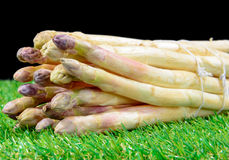 A bunch of fresh asparagus on the grass Stock Photo