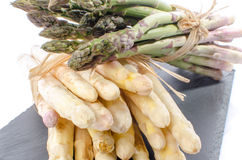 Bunch of fresh asparagus on a slate tray Stock Photography