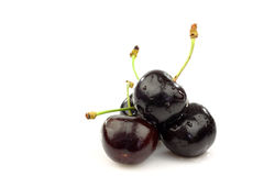 Bunch of fresh black sweet cherries. On a white background Royalty Free Stock Photo