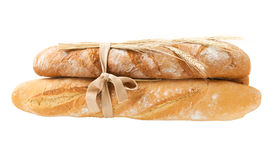 Bunch of fresh bread and wheat ears Royalty Free Stock Photos
