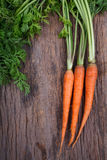 Bunch of fresh carrots with green leaves over wooden background Royalty Free Stock Photography