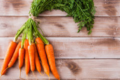 Bunch of fresh carrots with leaves Royalty Free Stock Photography