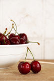 A bunch of fresh cherries in a bowl Stock Photography