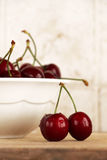 A bunch of fresh cherries in a bowl Stock Photos