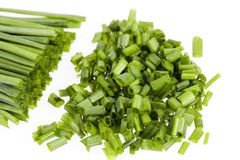 Bunch of fresh chives isolated on white background Stock Image
