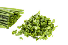 Bunch of fresh chives isolated on white background Stock Photo