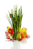 A bunch of fresh chives and vegetables Royalty Free Stock Photography