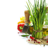 A bunch of fresh chives and vegetables Stock Photo