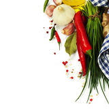 A bunch of fresh chives and vegetables Stock Photography