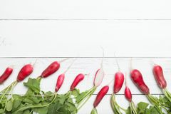 Bunch fresh diet radish, rustic background. Copy space for text.  stock photo