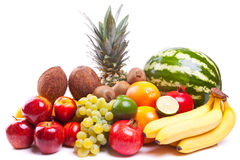 Bunch of fresh fruits stock images