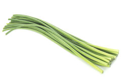 Bunch of fresh garlic stalks Stock Image