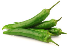 Bunch of fresh  green chili peppers Royalty Free Stock Images