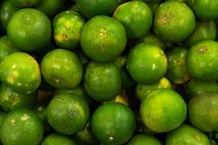 Bunch of fresh green mandarin in the organic food market. Tropical Bali island, Indonesia. Stock Photos
