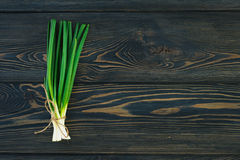 Bunch of fresh green onions scallions in bundle on breadboard table. Dark or neutral wooden background Royalty Free Stock Photos