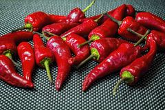 Bunch of fresh hot chili peppers stock photo