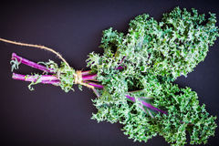 A bunch of fresh Kale salad. On a wooden table Stock Images