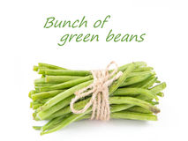 A bunch of fresh leguminous green beans on white background - gr Stock Photo
