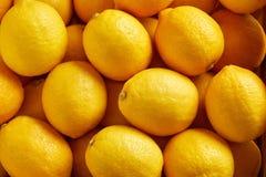 Bunch of fresh lemons in the organic food market. Overhead view of bunch of fresh lemons in the organic food market stock photography