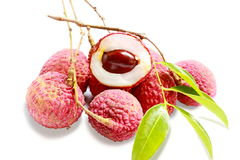 Bunch of fresh Lichi or lychee  on White background. Stock Image