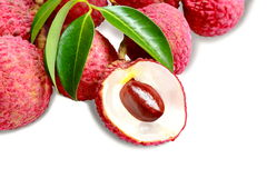 Bunch of fresh Lichi or lychee  on White. Bunch of fresh Lichi or lychee  on White background Stock Image