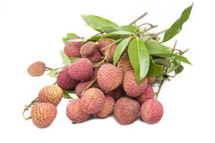 A bunch of fresh lychees on white background Stock Image