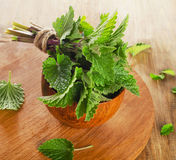 Bunch of Fresh mint leaves on  a wooden board. Royalty Free Stock Photo