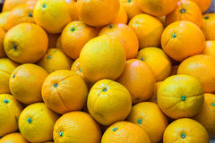 Bunch of fresh oranges for retail sale at an outdoor market. Stock Image