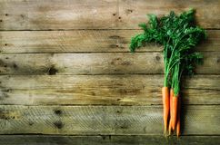 Bunch of fresh organic carrots on a wooden background with sunlights. Concept of diet, raw, vegetarian meal Royalty Free Stock Photo