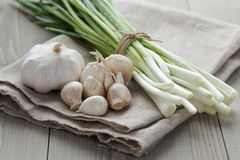 Bunch of fresh organic green onions and garlic Stock Photos