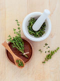 Bunch of fresh organic thyme in white mortar on wooden backgroun Royalty Free Stock Image