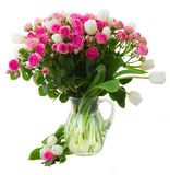 Bunch of  fresh pink roses and white tulips close Stock Image