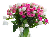 Bunch of  fresh pink roses and white tulips Royalty Free Stock Photos
