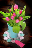Bunch of fresh pink tulips Royalty Free Stock Photos