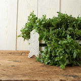 Bunch of fresh portulaca sativa on wooden table Stock Image